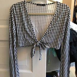 Bell Sleeve Gingham Tie-Front Top